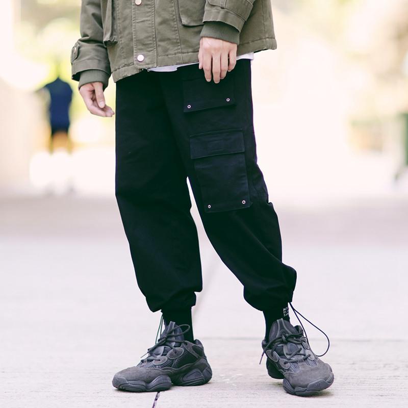 潮叁PSO Brand 18AW冬复古多口袋工装裤男机能潮牌嘻哈九分休闲裤有赠品