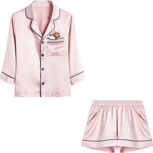 佩莎缇夏季甜美开衫刺绣短袖睡衣