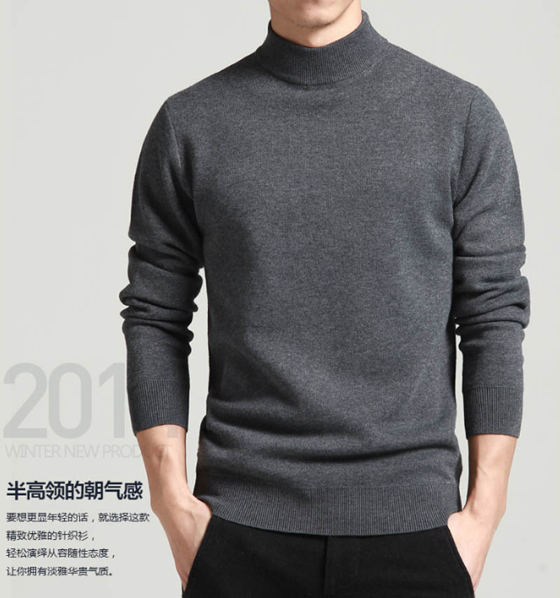 Spring and Autumn New Style Mens half high neck sweater bottoming sweater Pullover knitwear Korean slim young middle neck sweater
