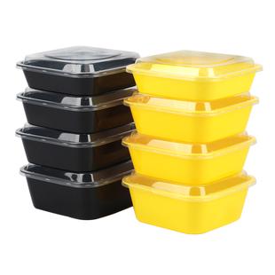 美式1000ml正方形一次性打包便當盒外賣帶蓋水果撈長方形塑料飯盒
