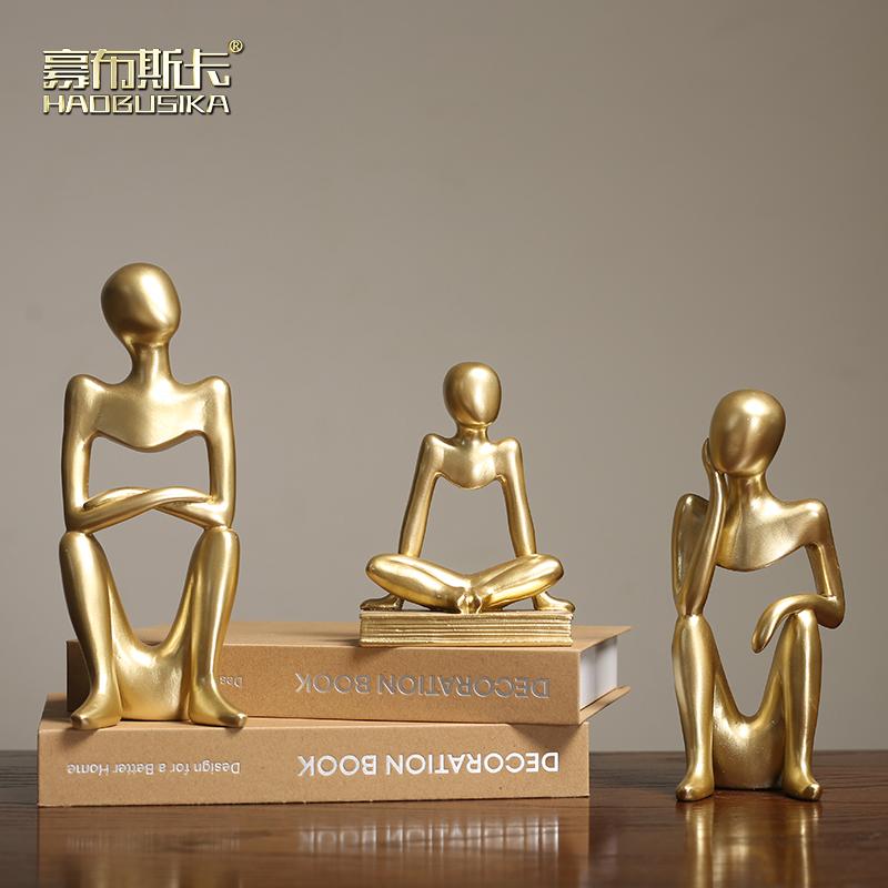 北欧抽象金色人物现代轻奢摆件 创意家居饰品客厅酒柜装饰工艺品限100000张券