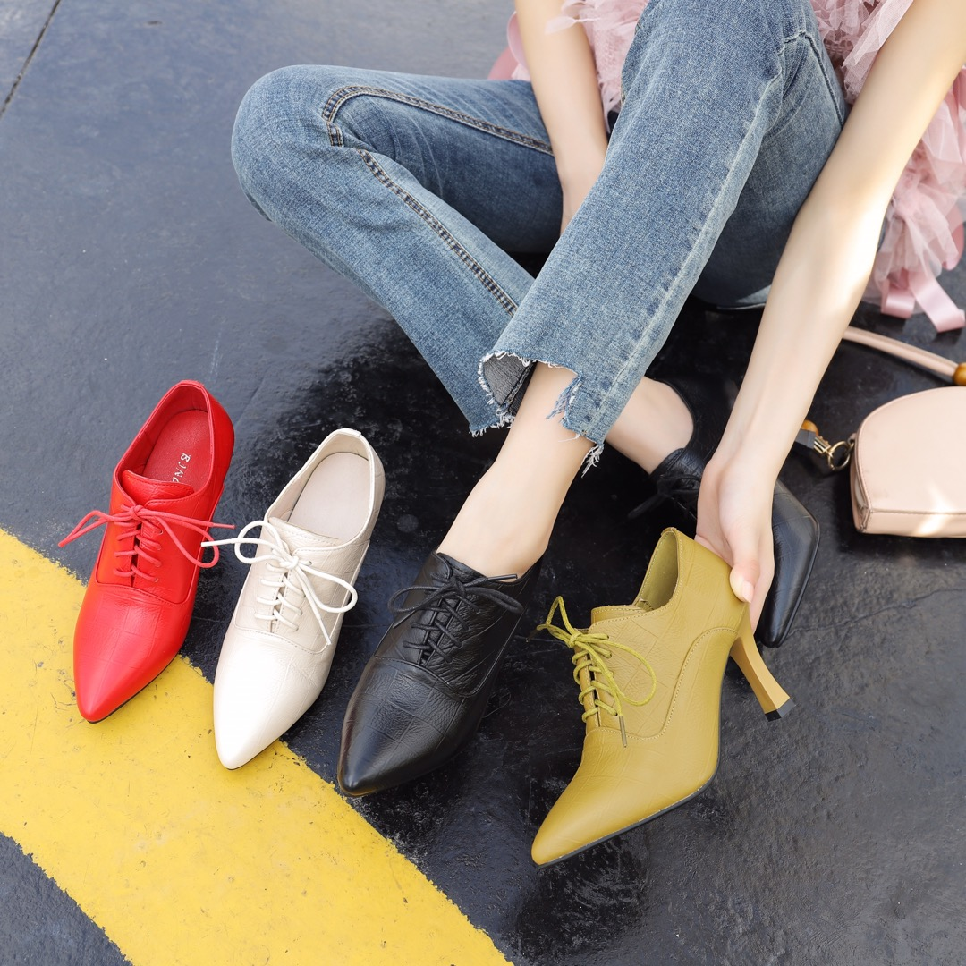 Womens new lace up small leather shoes work shoes high heel fashion versatile thin heel Korean leather womens shoes