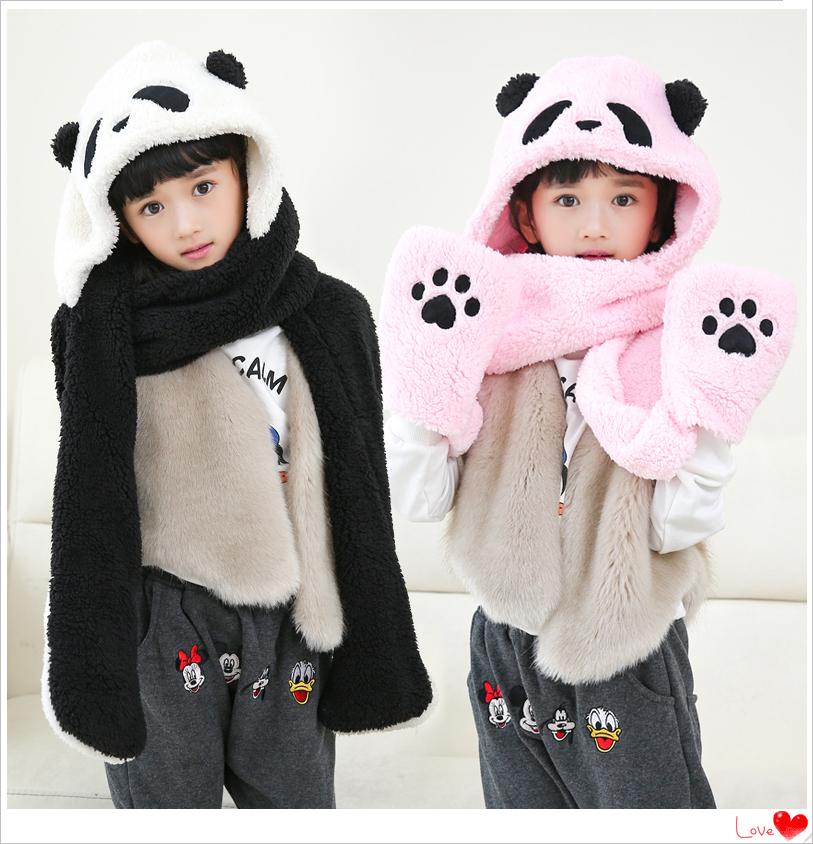 冬季帽子围巾手套一体三件套女可爱熊猫儿童双层保暖加厚学生帽子