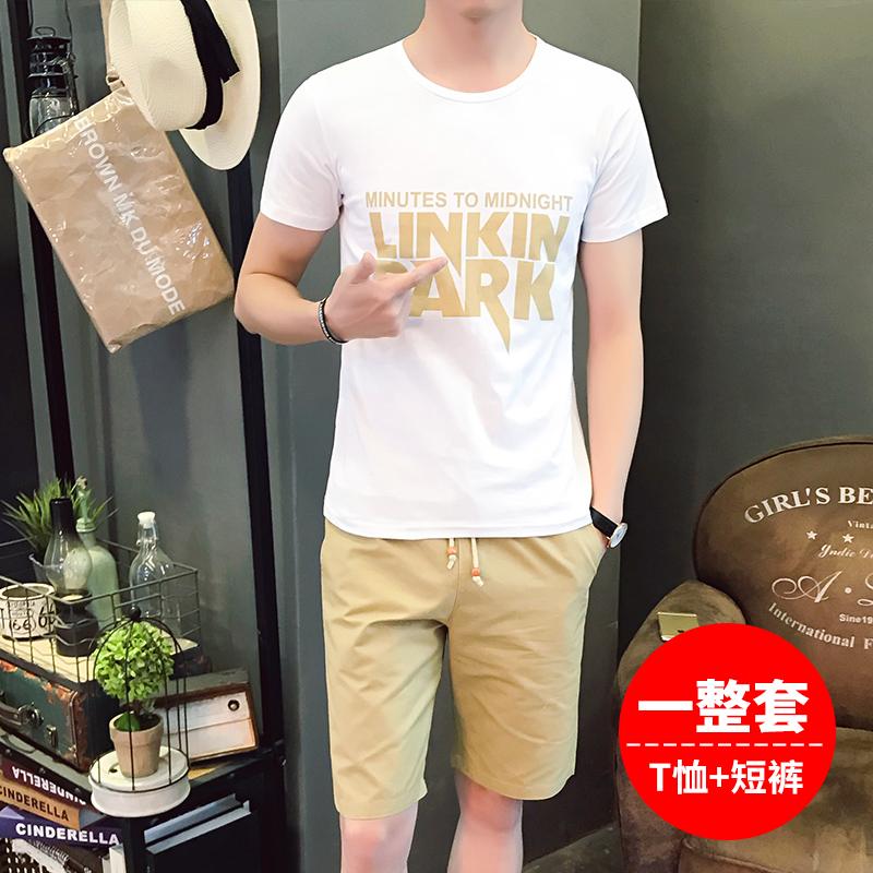男士夏季休闲运动套装男短袖t恤套装男夏装韩版青少年短裤五分裤