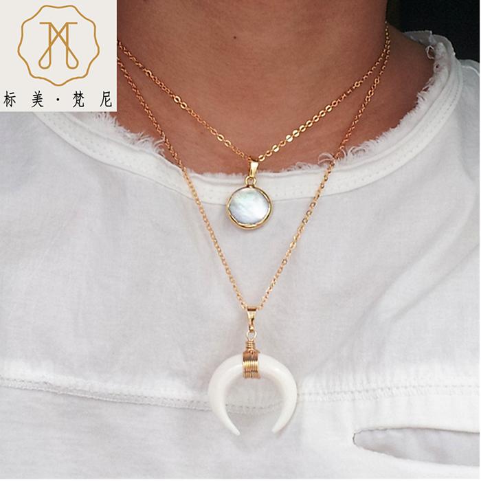 BM/标美饰品 双层珍珠项链象牙白新月亮造型牛骨多层项链
