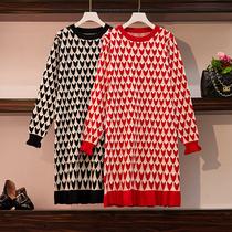 秋冬季新款女装大码心形毛衣微胖mm中长款法式显瘦减龄鱼尾连衣裙
