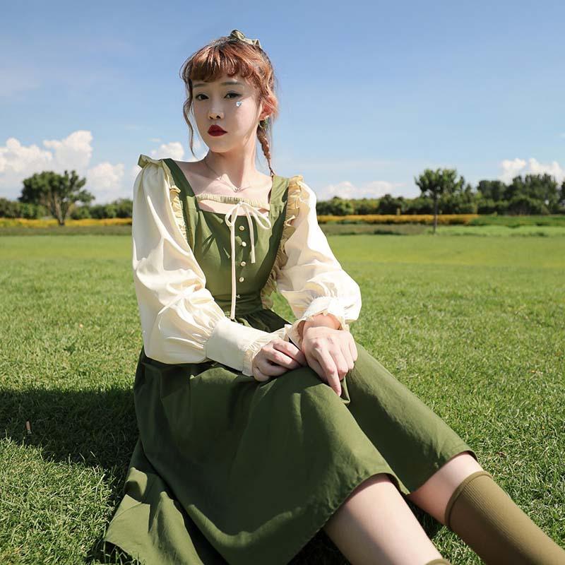 Original Japanese sweet Lolita contrast Navy collar Lantern Sleeve bandage high waist Ruffle Dress womens spring