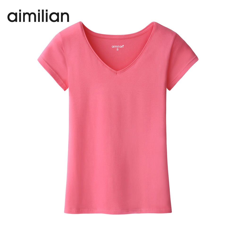 艾米恋夏季短袖t恤女装纯色内搭白色上衣修身显瘦圆领体恤打底衫
