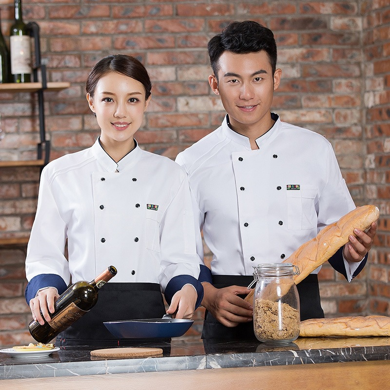 Restaurant chefs clothes long sleeve cake shop work clothes florists uniform bakery tooling baking clothes canteen kitchen worker