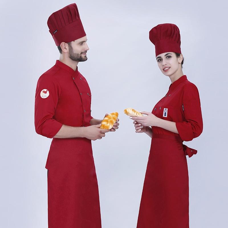 秋冬厨师服长袖酒店蛋糕师工作服面包师制服烧烤烘焙服裱花师工装
