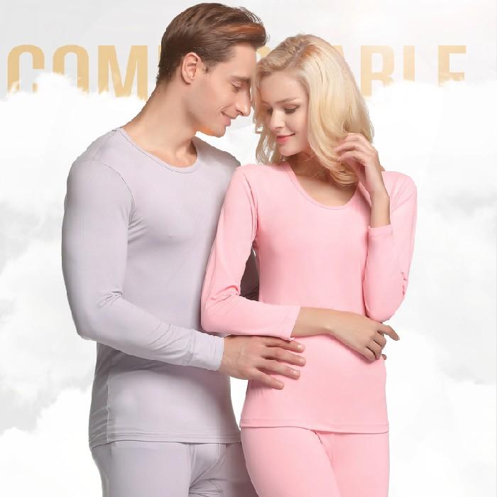 男士秋衣秋裤女士薄款加绒保暖内衣加肥加大码200斤宽松情侣套装