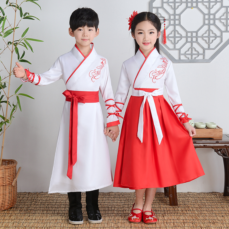 Childrens improved Hanfu new style ancient costume performance costume Chinese style book childrens clothing recitation performance costume disciple rules