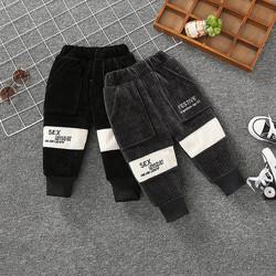 男童棉裤宝宝加绒加厚裤子冬季婴儿洋气儿童加层保暖长裤一条过冬