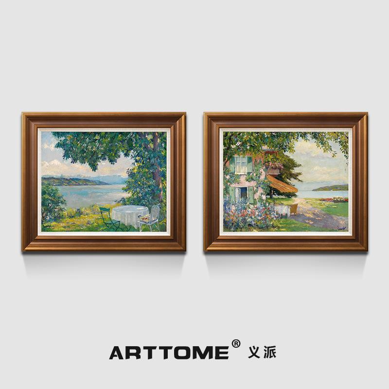 義派餐廳臥室掛畫美式歐式簡約雙聯版畫莫奈梵高風景靜物花卉油畫