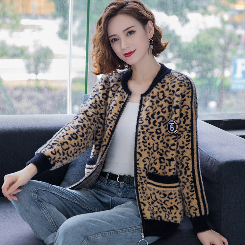 Fat mm mink like coat womens short knitted cardigan autumn 2020 new loose and versatile oversized sweater
