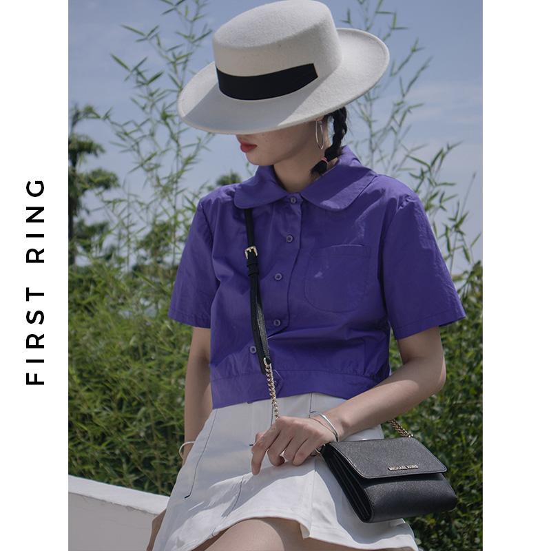 1st Ring 紫色短袖�凸派弦屡� 高腰�r衫短款女夏娃娃�I白色�@瘦