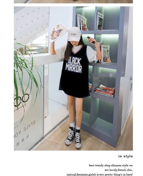 韩国原宿bf风宽松假两件短袖T恤女夏学生球衣连衣裙潮中长款上衣