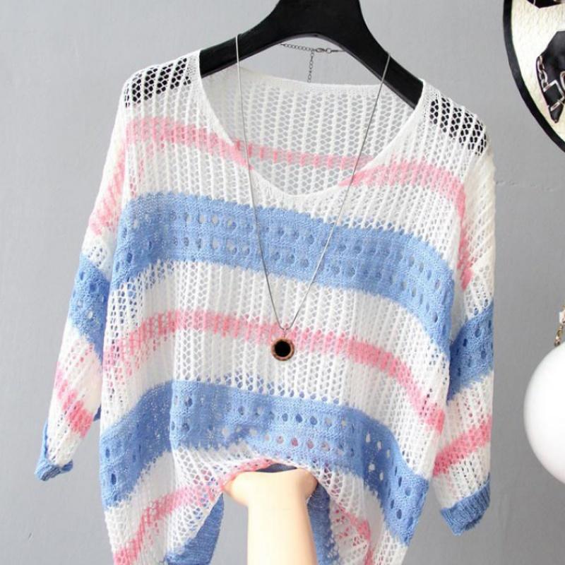 彩色镂空条纹2019新冰丝针织衫宽松复古风套头薄款chic罩衫防晒衣