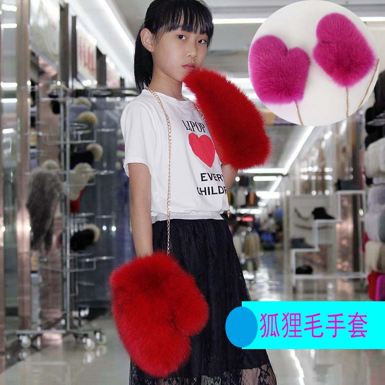 韩版整皮冬季保暖手套可爱连指狐狸毛皮草手套女士真毛狗熊毛毛手
