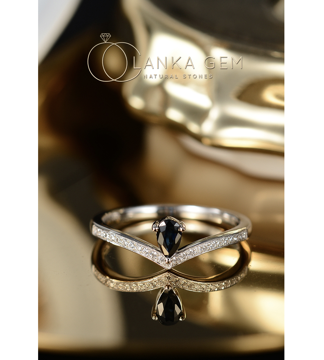 [legend of lanca] crown 925 silver plated 18K Gold Sri Lanka natural sapphire ring