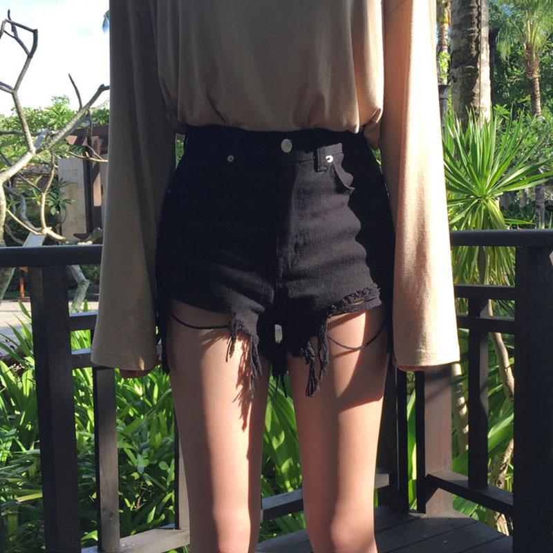 破洞牛仔短裤女夏2019新款高腰宽松外穿黑色显瘦韩版网红bf热裤潮