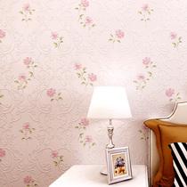 无纺布墙纸韩式紫粉色小花温馨卧室美容院家用儿童壁纸田园小清新