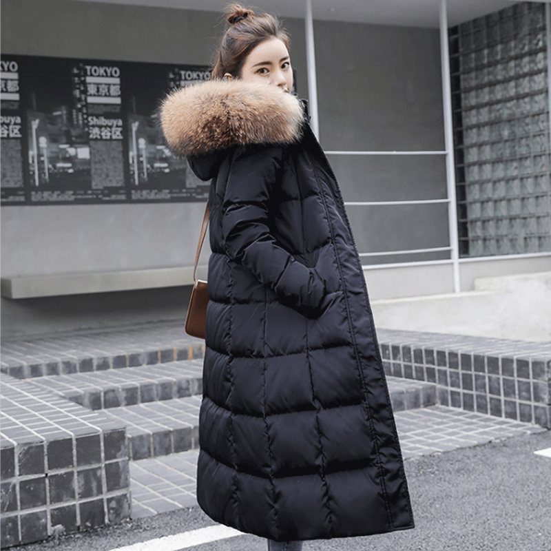 Anti season clearance 2019 new white duck down down down jacket womens long style over the knee thickened big hair collar popular Korean jacket
