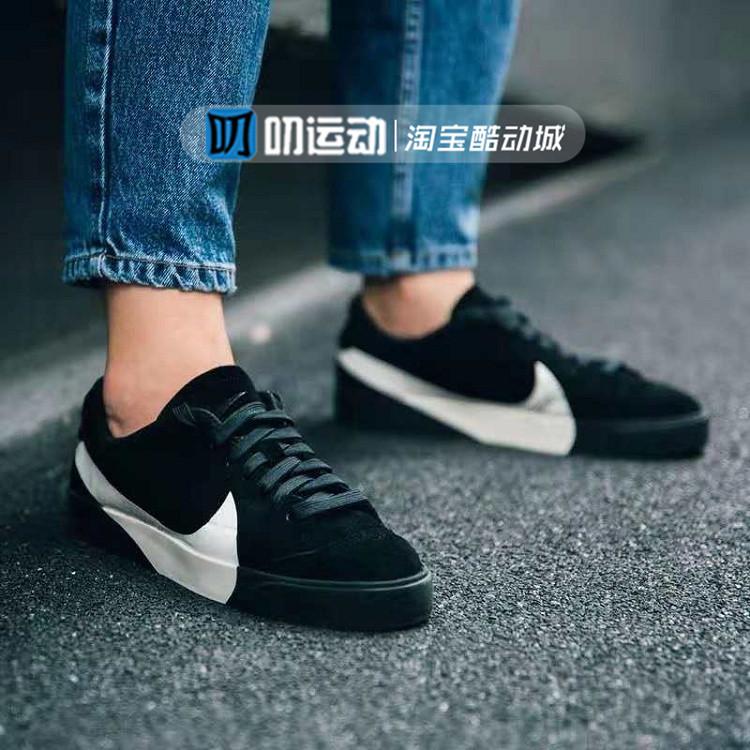 Nike Blazer low city耐克女黑白大钩子休闲板鞋AV2253-001包邮