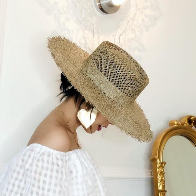 限时2件3折欧美复古风毛边海草草帽镂空透气遮阳帽女士夏季出游防晒沙滩帽子