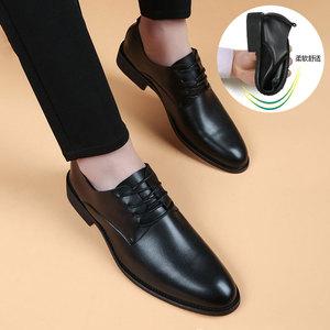 秋季男士软面软底尖头韩版真皮皮鞋