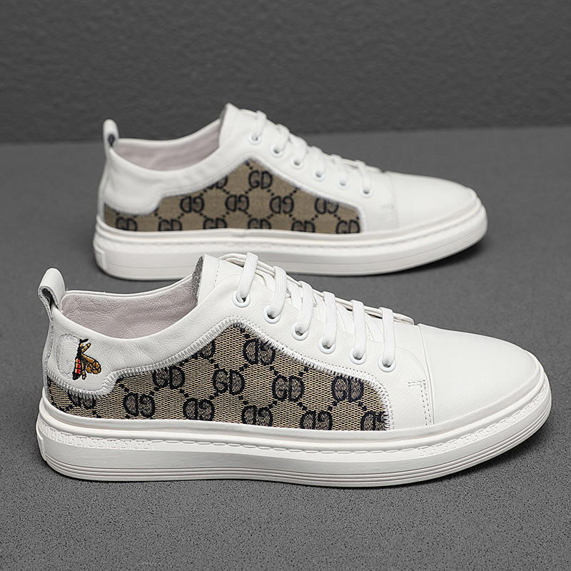 Foot king leather small white shoes mens low top shallow mouth casual board shoes Korean mosaic pattern casual shoes 2021 summer mens shoes