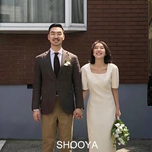 韩国复古法式连衣裙婚纱白色《丁香》