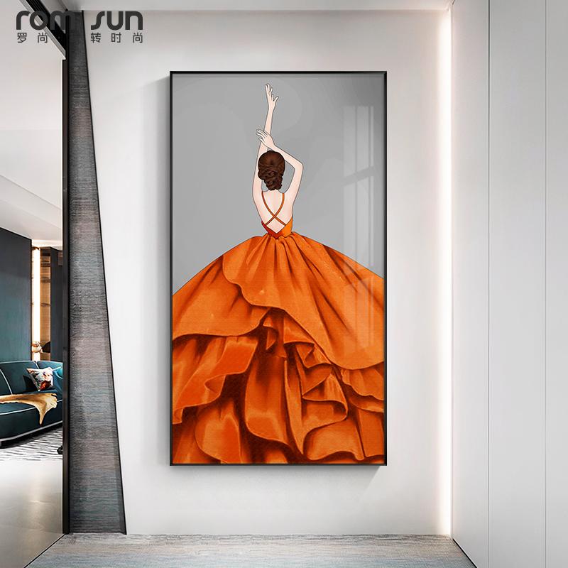 现代简约玄关过道装饰画高档轻奢卧室餐厅壁画北欧风人物客厅挂画