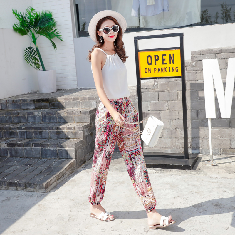 Pair with denim strapless, buttock and fishtail skirt, womens cotton silk flowered trousers, summer printed leisure