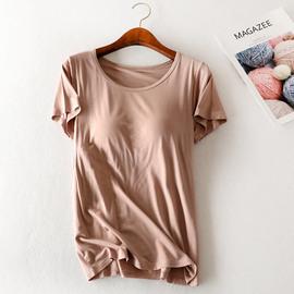带胸垫短袖T恤女夏莫代尔文胸罩杯一体宽松大码薄款半袖睡衣打底