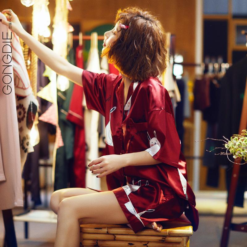 宫蝶冰丝夏季新款短袖性感可爱睡衣108.00元包邮