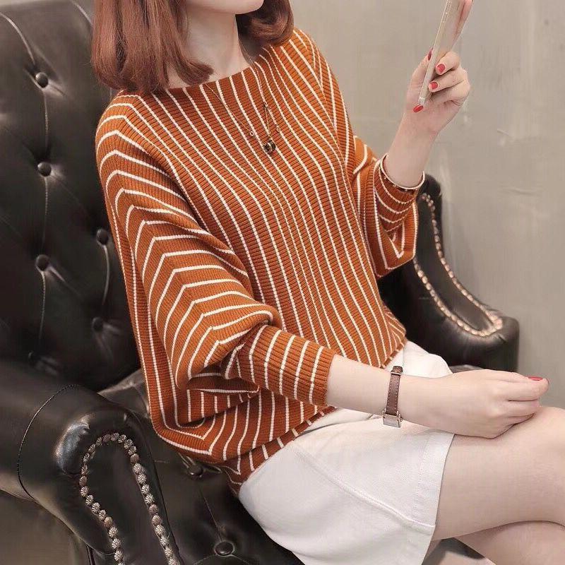 2020秋冬季新款韩版蝙蝠袖针织衫薄款条纹女宽松学生短款毛衣外套