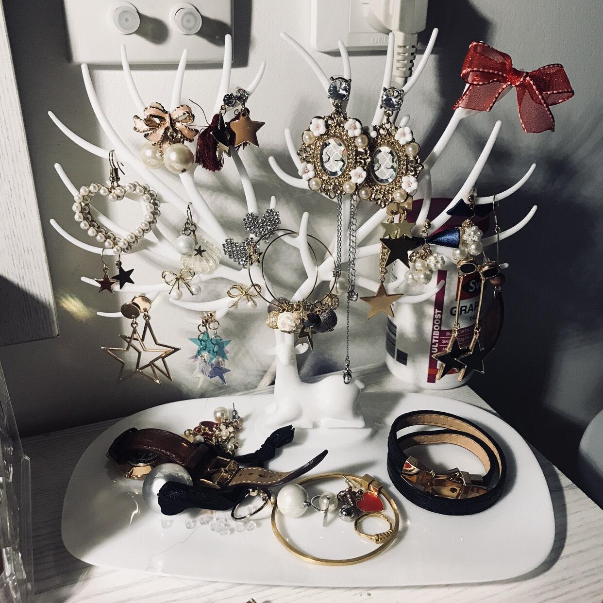 桌面简约饰品首饰架耳环收纳架项链坠展示架子家用耳饰品挂架可拆
