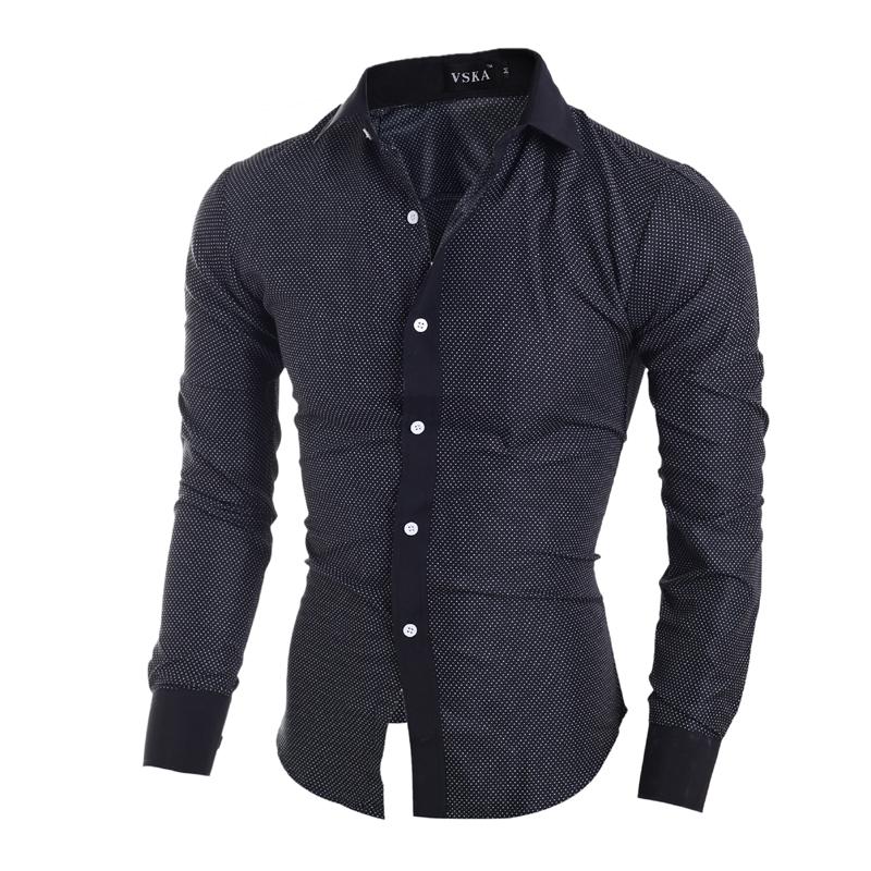 秋冬新款 时尚小圆点 男士修宪案长袖衬衫 5070 P35