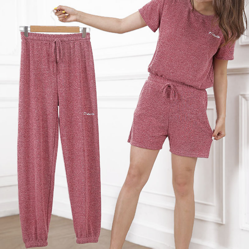 Fairy house pants suit summer leisure slacks women loose and thin pajamas three piece set of cool pants home clothes