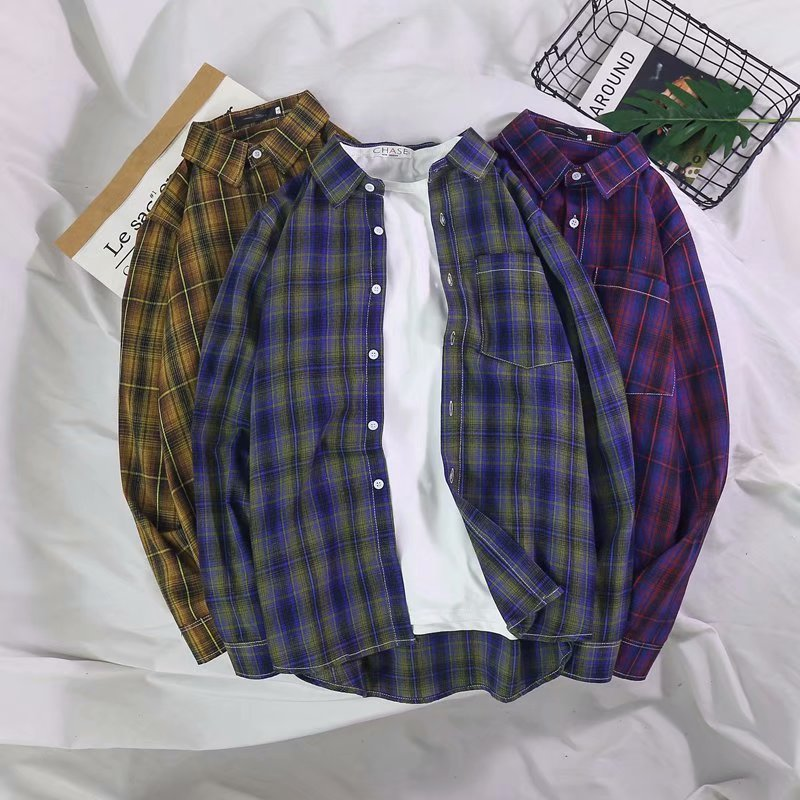 Autumn Hong Kong Style ins Plaid Shirt Mens long sleeve Korean Trend handsome coat casual couple solid color shirt