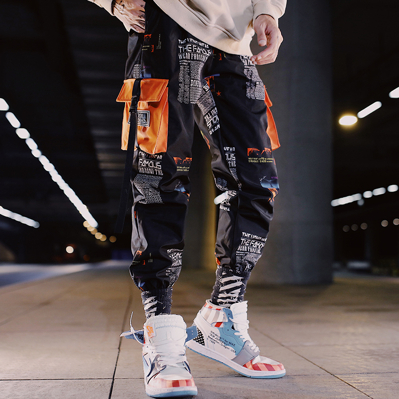 Summer mens casual pants trendy mens overalls national trend small feet Korean version loose hiphop loose hip hop toe binding trend