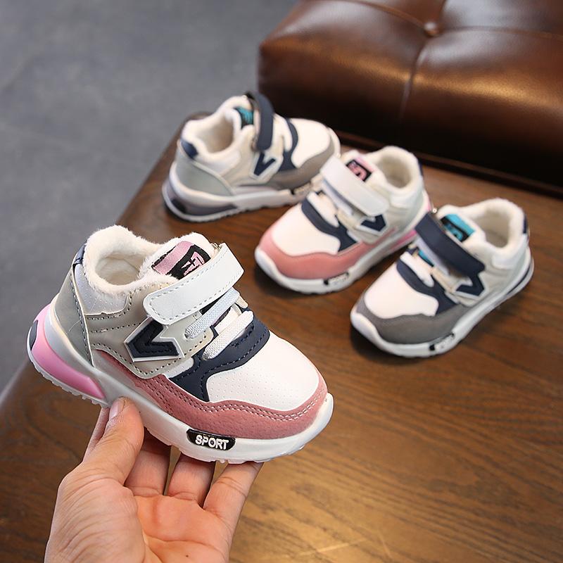 秋冬季婴儿软底加绒运动鞋0-1-3岁2女宝宝棉鞋加厚保暖学步鞋子潮