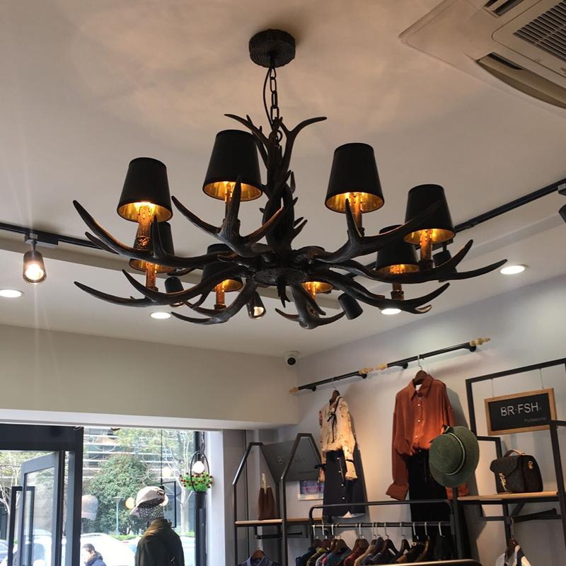欧式复古工艺术灯鹿角吊灯黑色餐厅网吧loft工业风服装店饭店灯饰限4000张券