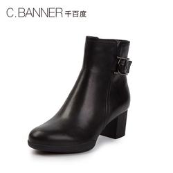 C.BANNER/千百度冬季新品商场同款粗高跟短靴棉靴A8640012WX