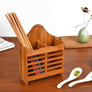 廚房筷子籠竹筷籠筷子盒瀝水式筷子筒漏空竹子筷桶竹製筷籠居家用
