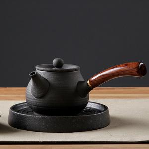 手工黑陶侧把壶功夫茶具套装粗陶茶壶陶瓷单壶整套陶壶泡茶器日式