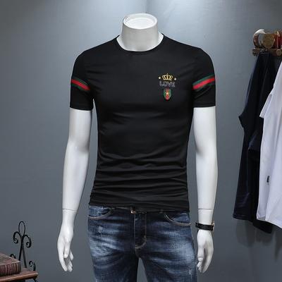 2019夏装新款欧货高品质丝光棉男士短袖T恤 D322 99627 P60 黑