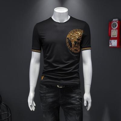 D322 20110 P70 2020夏装新款丝光潮流修身男短袖t恤 假模