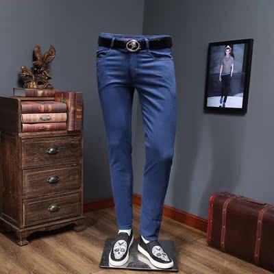 2018春夏款新款休闲小直筒男士牛仔裤薄款有大码 2273 P135 蓝色